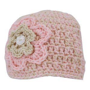 🆕Hand-Crocheted Light Pink Flower Beanie